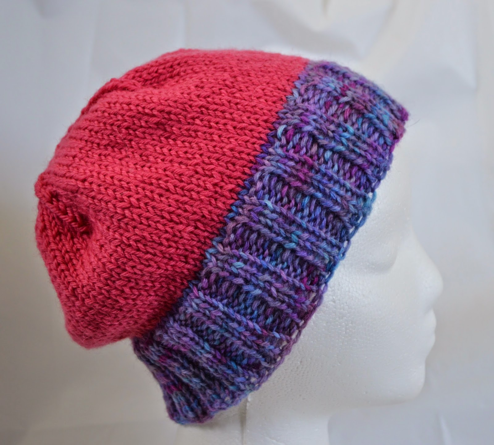 Wiinter hat for teens or preteens, hand dyed purple and pink wool, slightly slouchy