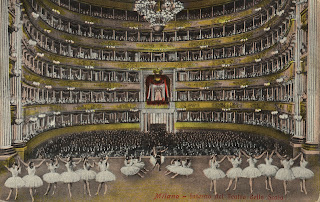 A picture of ballet being performed at La Scala in about 1893