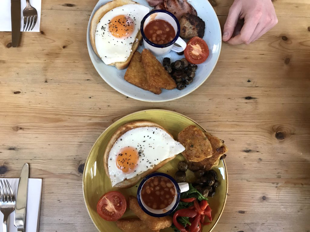 the meat and veggie brunch available at The Albero Lounge, Bedford