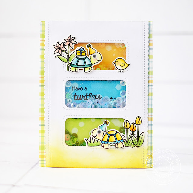 Sunny Studio Stamps: Turtley Awesome Turtle Birthday Shaker Card by Lexa Levana
