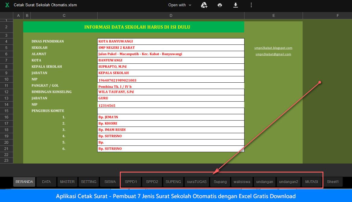 Aplikasi Cetak Surat - Pembuat 7 Jenis Surat Sekolah Otomatis dengan Excel Gratis Download
