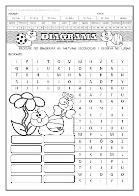 Trabalhando diagrama com palavras com a letra J e M
