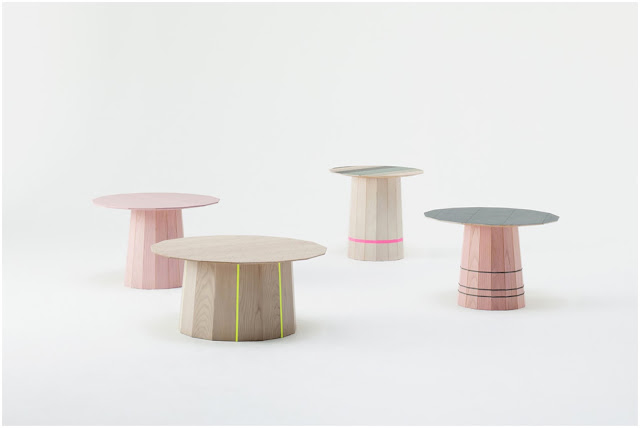 Colour Wood side tables designed by Scholten & Baijings for Karimoku New Standard