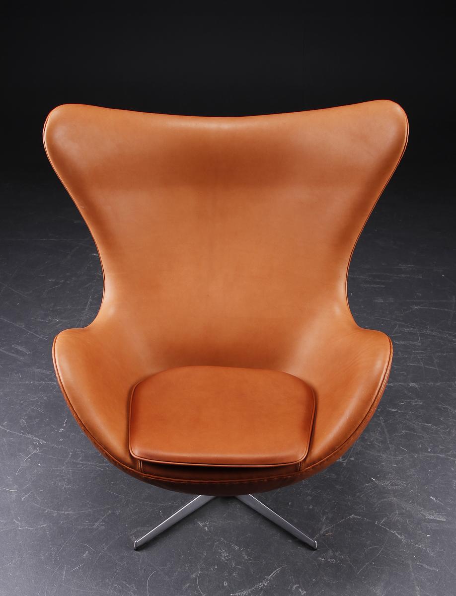 original fritz hansen scandinavian modern leather lounge arne jacobsen egg chair. Black Bedroom Furniture Sets. Home Design Ideas