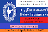 The New India Assurance Limited Recruitment 2017–988 Assistants Officer