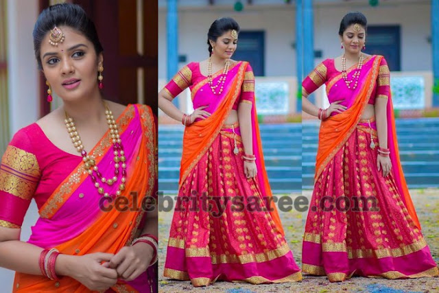 Sree Mukhi Orange Pink Half Saree