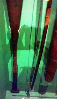 Grips of Nootka paddle, Tlingit or Chugach bow and arrow