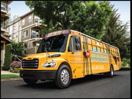 The Thomas Built Buses Saf-T-Liner C2 all-electric Jouley school bus