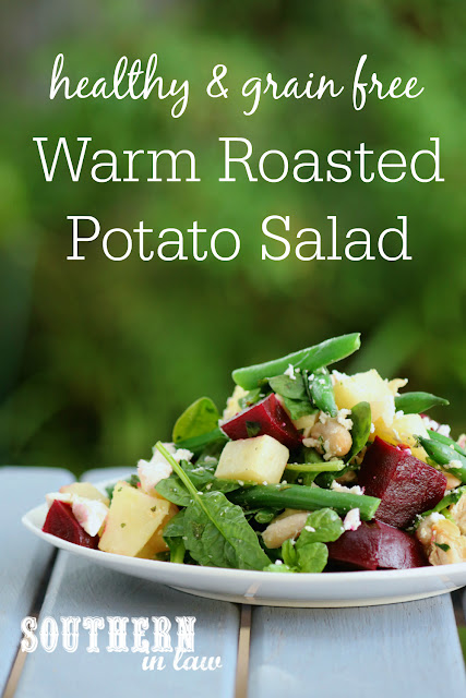 Healthy Warm Potato Salad Recipe - gluten free- grain free, low fat, vegetarian, meat free, meatless, side dish, green beans, beetroot, feta cheese, cannellini beans, spinach