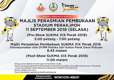 Live Streaming Pembukaan Sukma Perak 2018