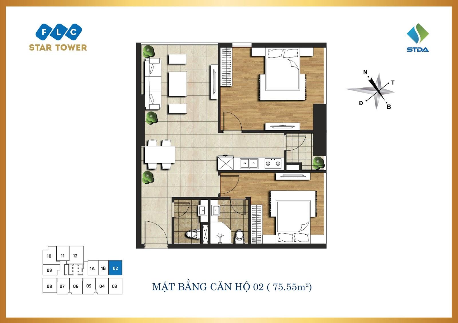 Thiết kế căn hộ số 2 - Chung cư FLC Star Tower