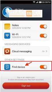 cara mengaktifkan find device mi cloud