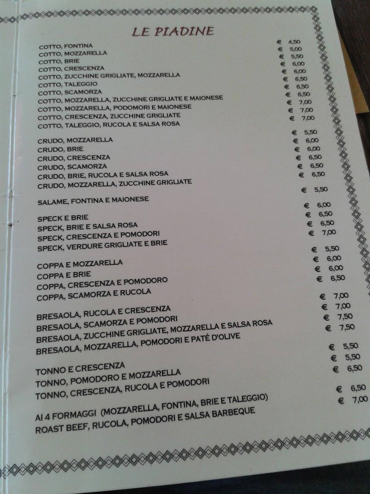 A Modo Mio Melzo menu e prezzi: aprile 2016