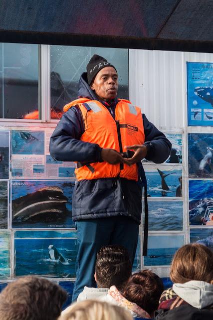 Explicaciones de seguridad del avistamiento de ballenas en Hermanus, Sudáfrica