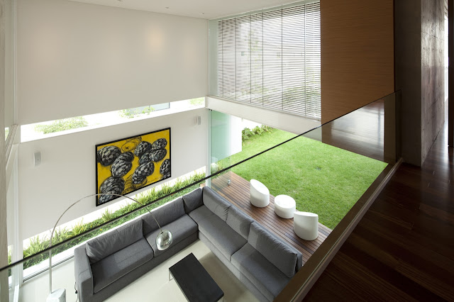 Modern living room of FF House in Mexico from upper floor