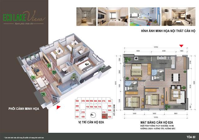 Thiết kế căn hộ góc 02A Eco Lake View