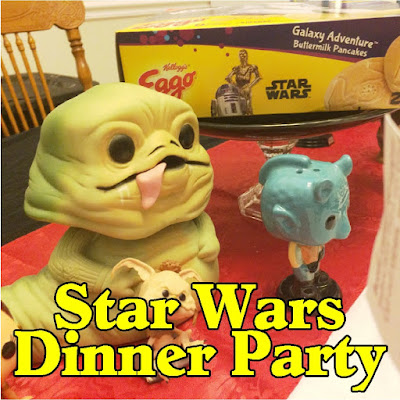 Enjoy a delicious dinner before going to see the new Star Wars movie while enjoying a fun Star Wars dinner party with your family and friends.  With these great party food ideas, party decorations, and awesome Light saber candlesticks, you will be on the winning side no matter what happens on screen. #starwars #familydinner #starwarsdinner #starwarsparty #tablescape #diypartymomblog