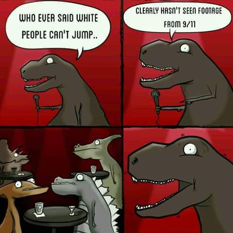 9/11 comic with a dinosaur