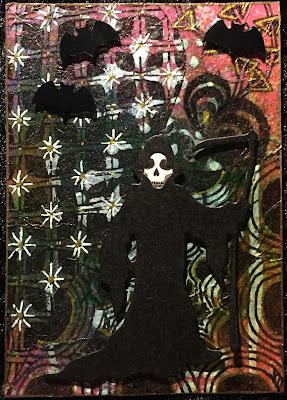 Halloween grim reaper ATC (Artist Trading Card)