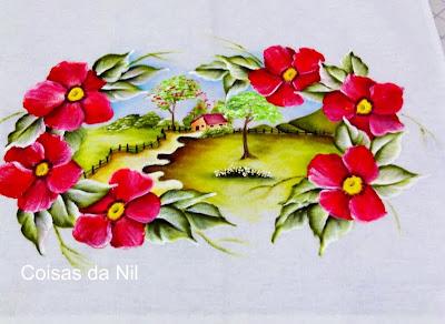 paisagem com flores pintada em pano de copa