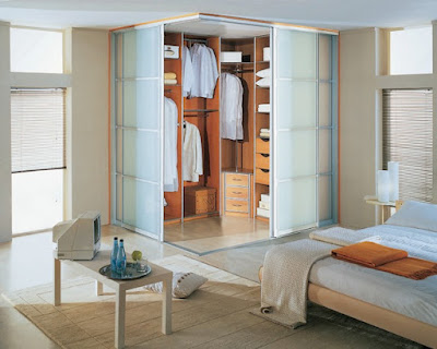 small dressing room area in modern bedroom