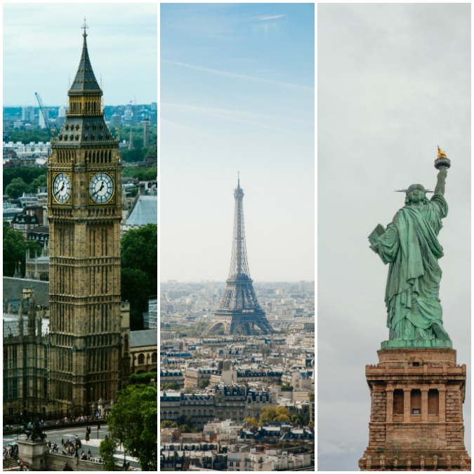 London, Paris and New York City