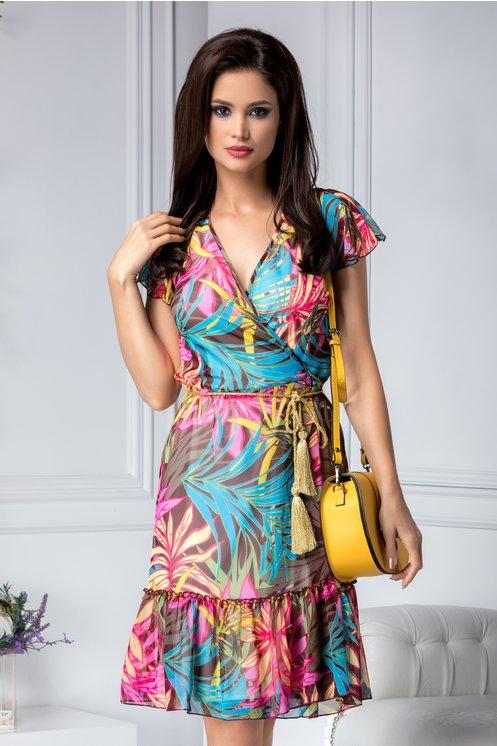 Rochie de zimaro cu imprimeu albastru-roz