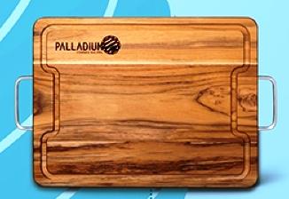 2341a73fcd972 As tábuas são de madeira, com alças de inox e poderão ser personalizadas no  momento da retirada do brinde.