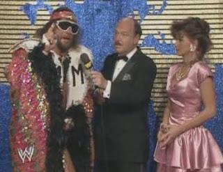 WWF / WWE WRESTLEMANIA 4: 'Macho Man' Randy Savage cuts a promo en route to his championship tournament win