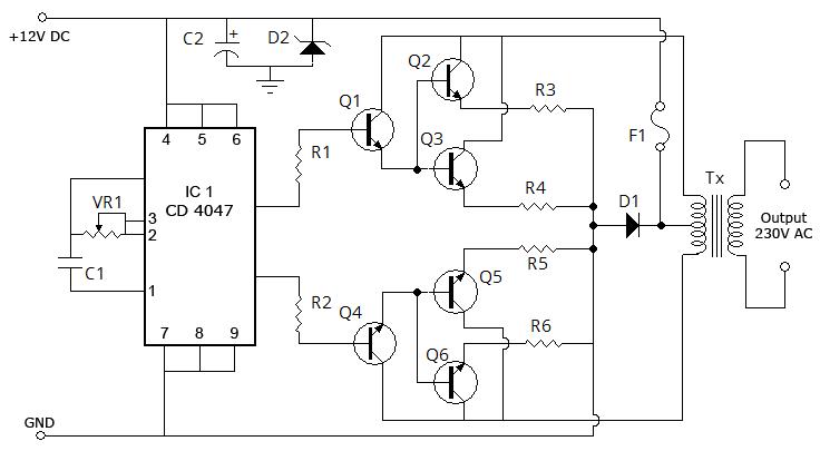 2n3055 simple inverter 5w