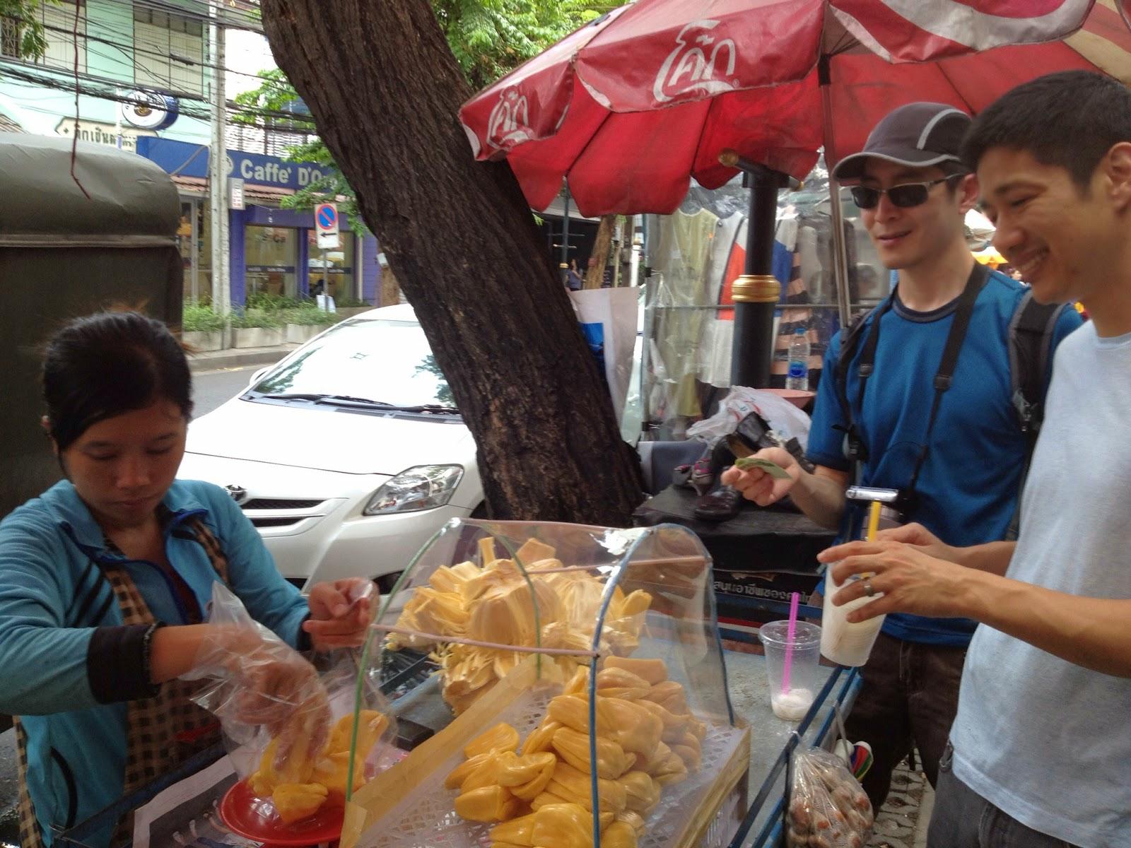 Bangkok - Mike and Tim buying some jackfruit