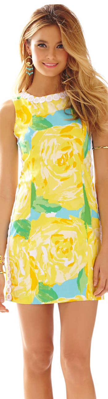 LILLY PULITZER MILA LACE DETAIL SHIFT DRESS YELLOW