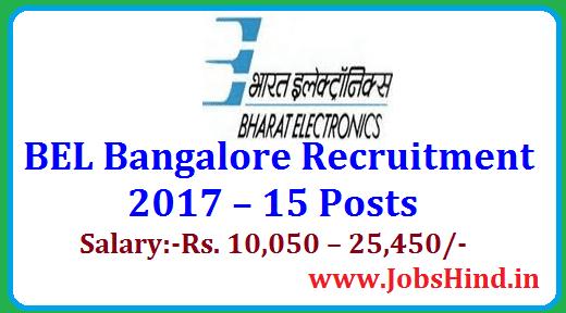 BEL Bangalore Recruitment 2017