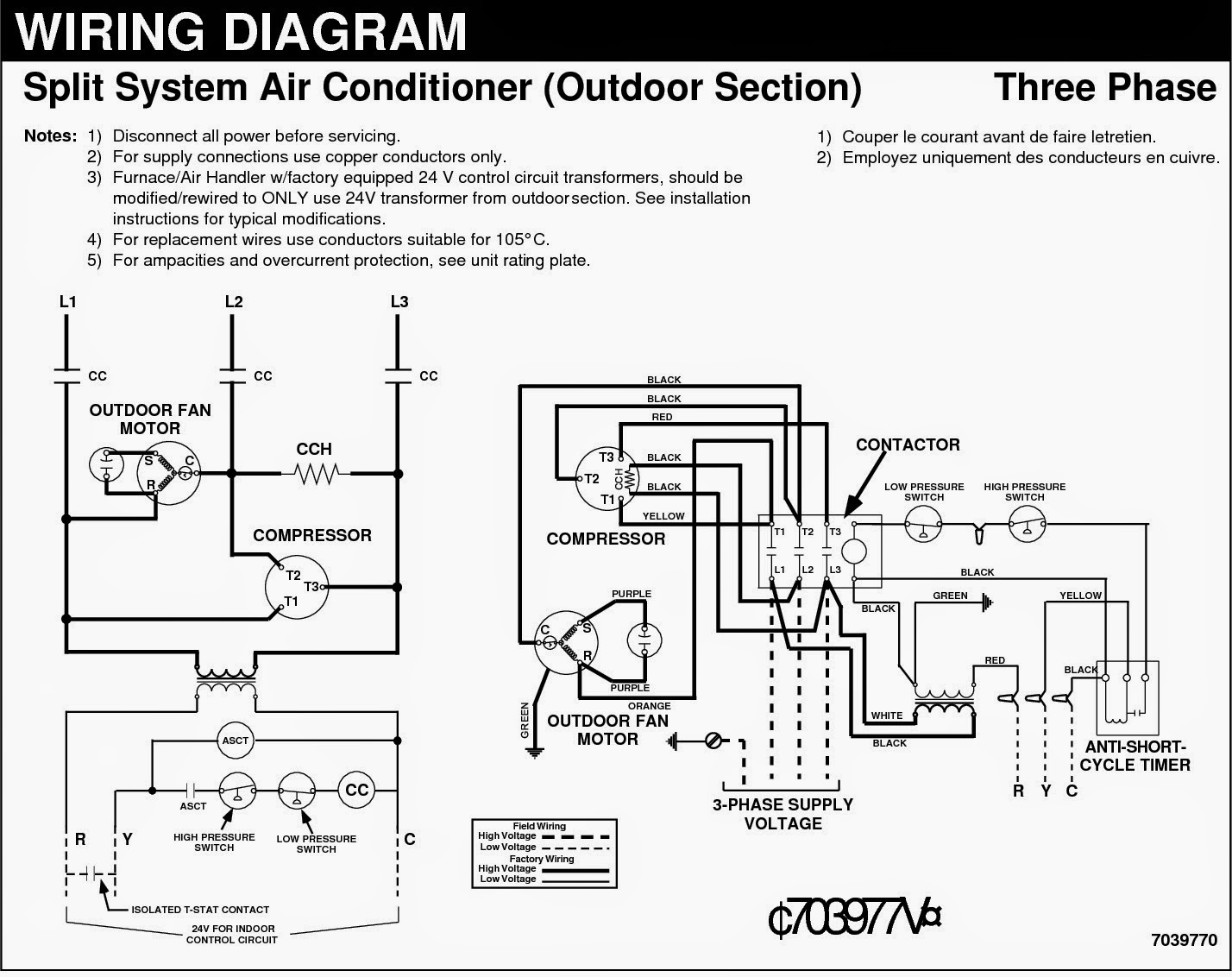 Fig.13: Split air Cooling Units - Three Phase - Electrical Wiring Diagram