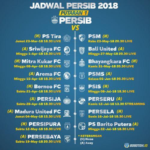 Jadwal Persib Bandung Liga 1 2018