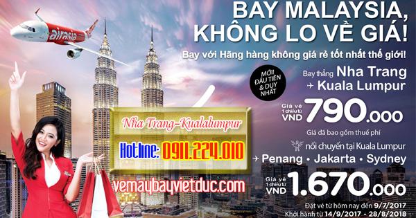 mua vé máy bay Air Asia bay thẳng đi Kuala Lumpur từ Nha Trang giá 790k