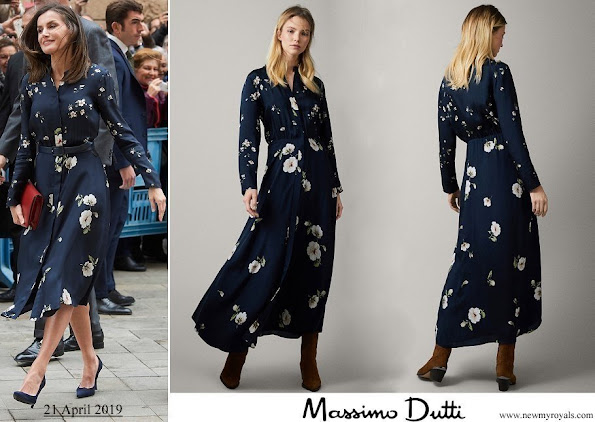 Queen Letizia wore Massimo Dutti floral print cupro dress