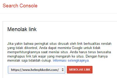 Menghapus backlink dengan google disavow linkg