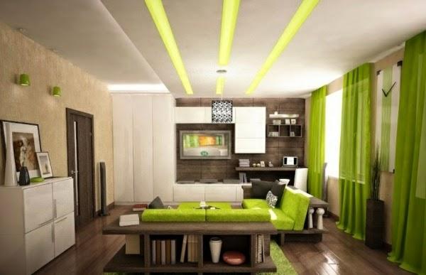 sala decorada en marrón y verde
