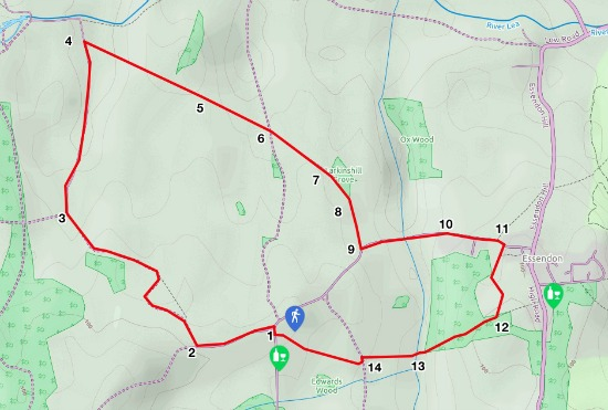 Map for walk 13, The Candlestick Loop, created by David Brewer, map elements copyright MapHub and Thunderforest
