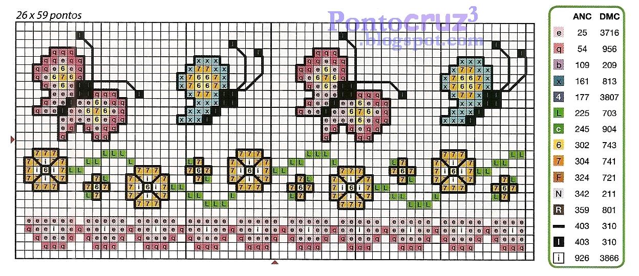 60a84e1a0f Barradinho em ponto cruz de borboletas com arabesco de flores. Este lindo  barradinho é indicado para diversos trabalhos como  panos de cozinha