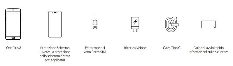 Contenuto confezione OnePlus 3
