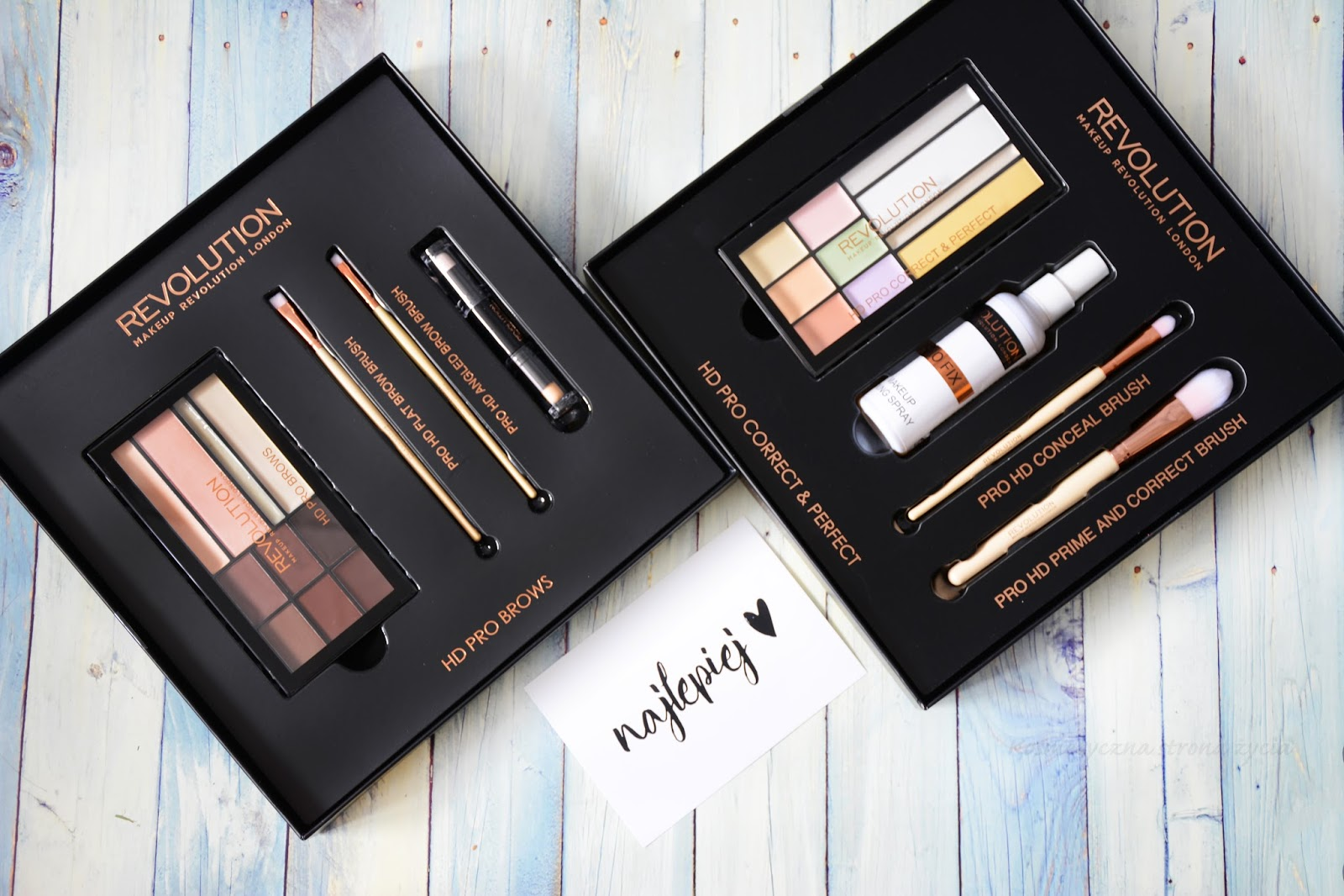 MAKEUP REVOLUTION ZESTAW HD PRO BROWS ORAZ PRO HD PRIME AND CORRECTOR BRUSH