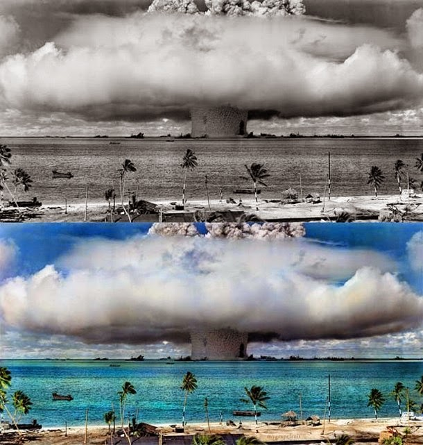 28 Realistically Colorized Historical Photos Make the Past Seem Incredibly Alive - Operation Crossroads Atomic Detonation