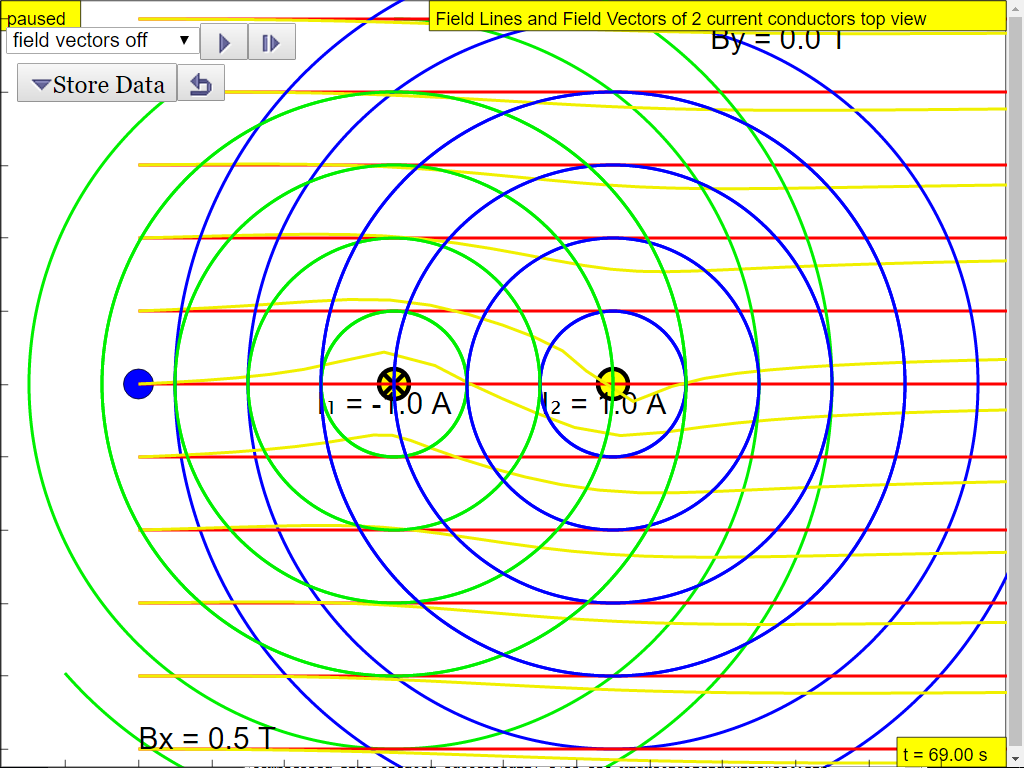 Magnetic Field of 2 current conducting wires JavaScript