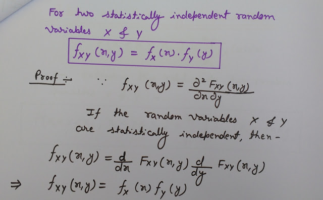 Statistically Independent Random Variables X and Y