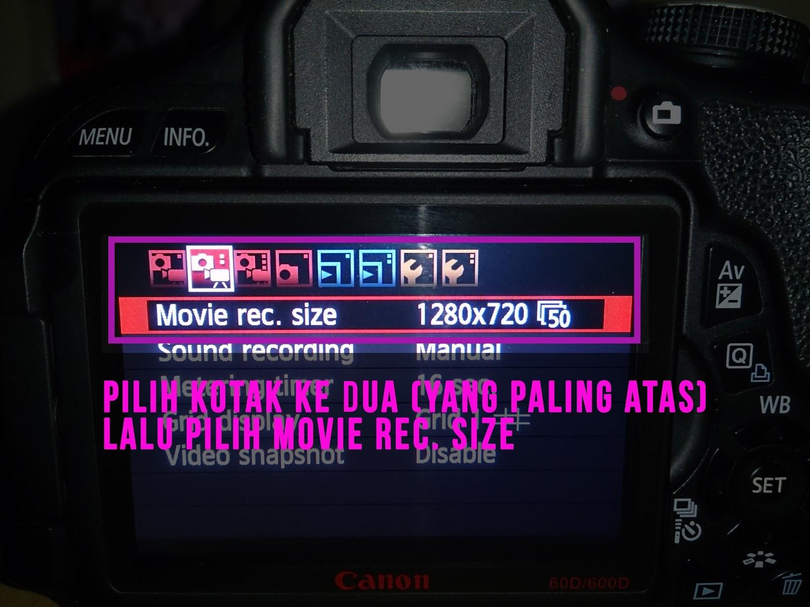Pilih kotak yang ke 2 di bagian paling atas yang ada gambar kamera videonya Lalu pilih Movie Rec Size