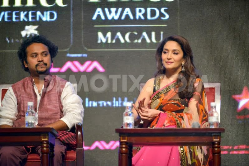 Director Soumik Sen and Madhuri Dixit on promotion of Gulaab Gang