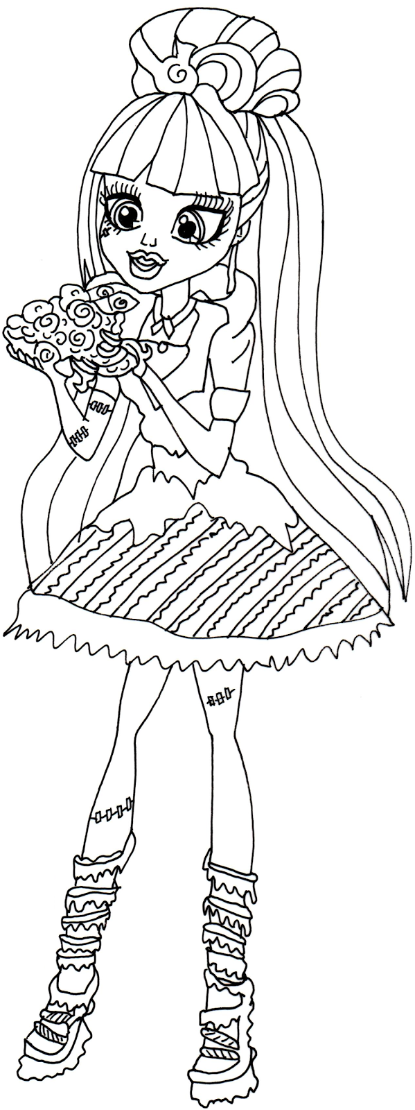 Free Printable Monster High Frankie Stein Sweet Screams Coloring Page