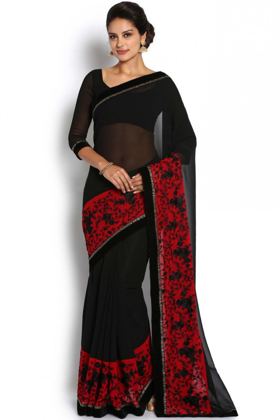 women in red and black sari